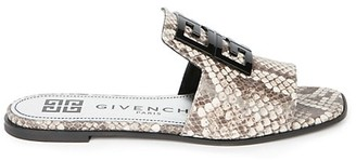 Givenchy 4G Flat Python-Embossed Leather Sandals