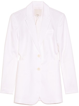 Tibi Soft Spring Suiting Cutout Blazer in White