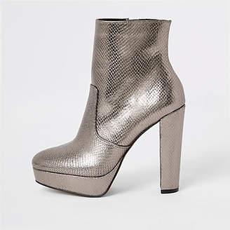 River Island Silver embossed platform heeled boots