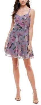 City Studios Juniors' Floral Sequin Fit & Flare Dress