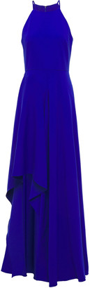 Badgley Mischka Asymmetric Ruffled Crepe Gown