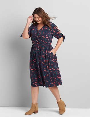 Lane Bryant Printed Crossover Fit & Flare Dress