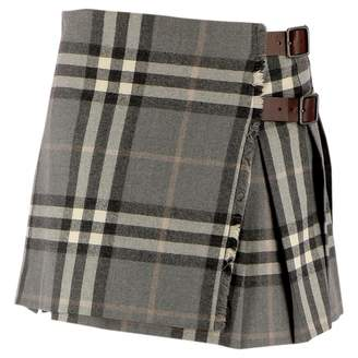 Burberry Grey Wool Skirt for Women