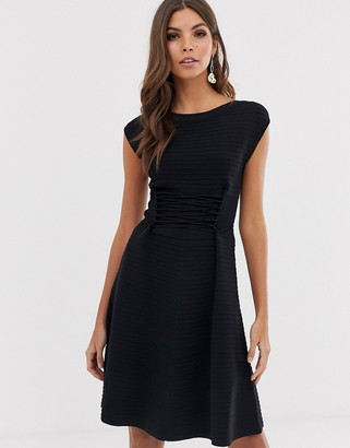French Connection Katie lace up fit and flare dress-Black