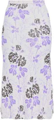 Victoria Beckham Floral-print Textured Wool Skirt