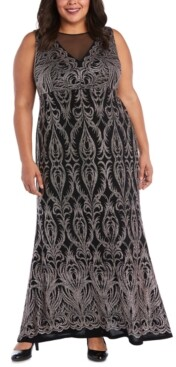 R & M Richards Plus Size Embellished Glitter Gown
