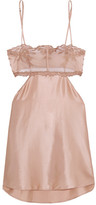 La Perla Morgane Cutout Embroidered Tulle And Stretch Silk-blend Satin Chemise - Pink