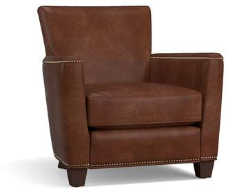 Pottery Barn Irving Leather Square Arm Power Recliner with Nailheads