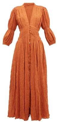 Cult Gaia Willow Ruched Panelled Cotton-blend Dress - Womens - Brown