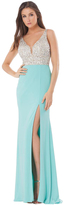 JS Collections Sleeveless V Neck Long Dress in Nude and Aqua 865574