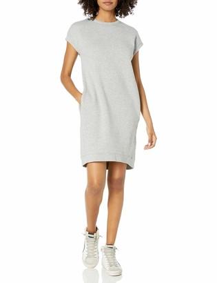 Goodthreads Amazon Brand Women's Modal Fleece Short-Sleeve Cocoon Dress with Pockets Pale Grey Heather Small
