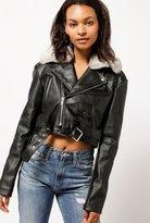 Azalea Fur Collar Moto Jacket