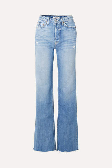 GRLFRND Carla Distressed High-rise Flared Jeans - Mid denim