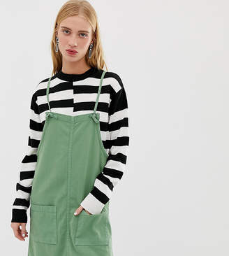 Monki denim overall dress in green