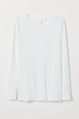 H&M Long-sleeved Jersey Top - White
