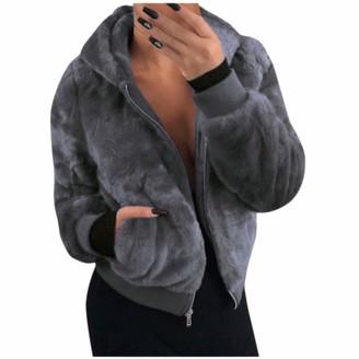Jerfer Ladies Long Sleeve Coat Pocket Pure Color Mink Bunny Furs Jacket Gray
