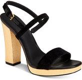 Calvin Klein Women's Bambii Velvet Slingback Platform Sandals
