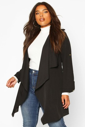 boohoo Plus Waterfall Military Detail Belted Jacket