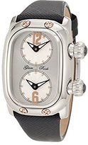 Glam Rock Women's GR72400 Monogram Dual Time Silver Dial Black Leather Watch