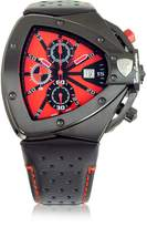 Tonino Lamborghini Black Stainless Steel Horizontal Spyder Chronograph Watch w/Red Dial
