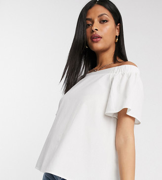 ASOS DESIGN Maternity cotton off shoulder top in Ivory