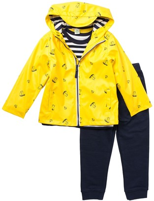 Little Me Boat Print Jacket, Tee, & Joggers 3-Piece Set (Toddler Boys)