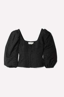 Mara Hoffman Eliana Tencel And Linen-blend Blouse - Black