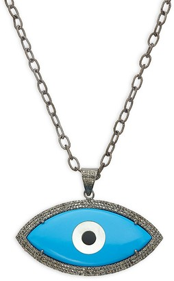 Saks Fifth Avenue Sterling Silver, Diamond Turquoise Eye Pendant Necklace