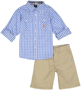 U.S. Polo Assn. Blue Plaid Button-Up & Twill Shorts - Infant & Boys