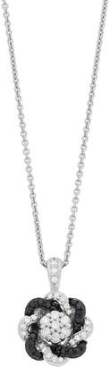 Vera Wang Simply Vera Sterling Silver 1/3 Carat Black & White Diamond Knot Pendant Necklace