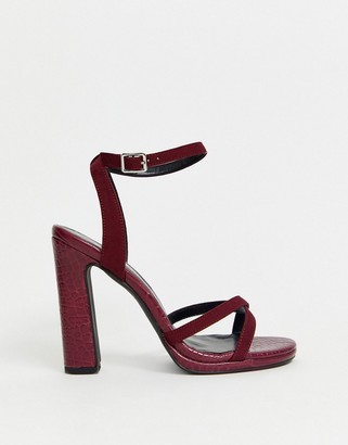 New Look platform heeled sandals in dark red PU croc