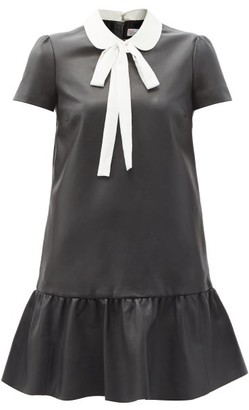 RED Valentino Pussy-bow Ruffled Leather Mini Dress - Black