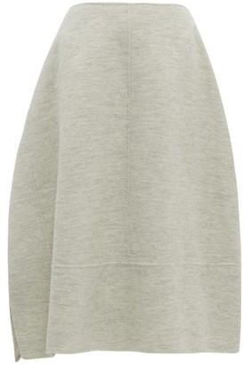 Jil Sander Asymmetric Wool-melange Skirt - Light Grey