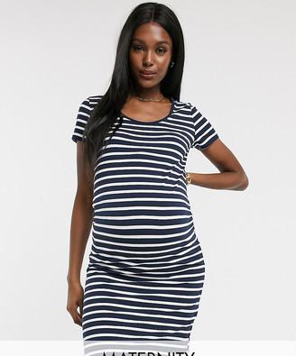 Mama Licious Mamalicious Maternity organic cotton mini dress in navy stripe