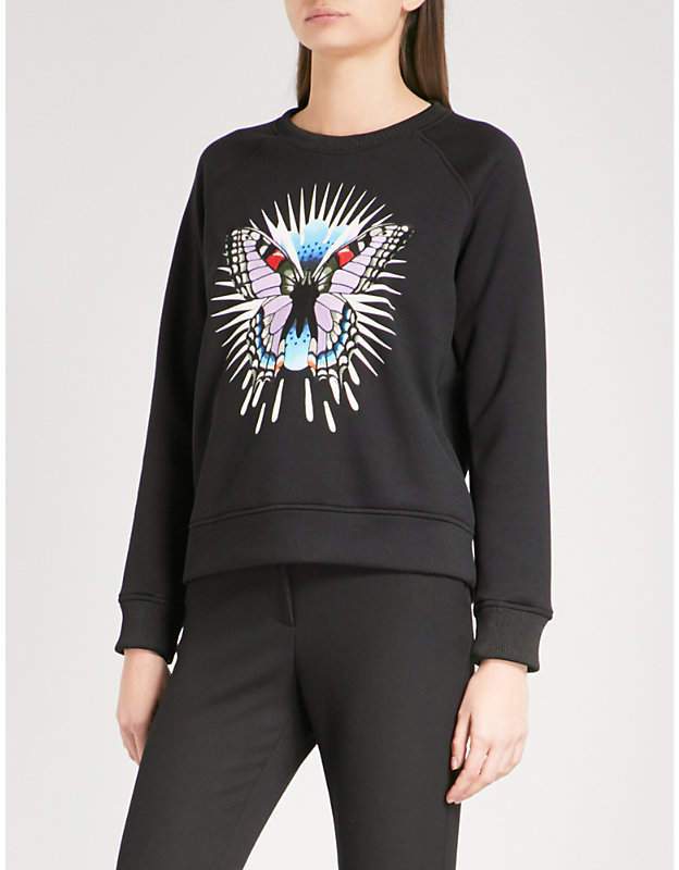 Maje Tory embroidered-butterfly jersey sweatshirt
