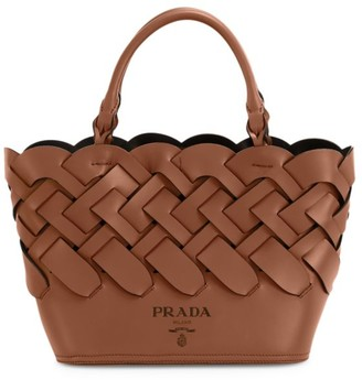 Prada Large Woven Leather Tote