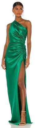 Mason by Michelle Mason Asymmetrical Gathered Gown