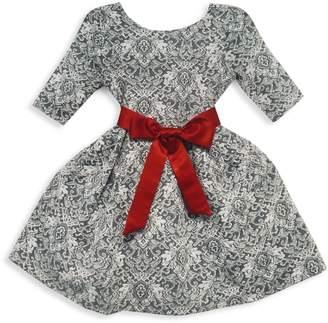 Joe Ella Little Girl's & Girl's Waist Sash Printed Dress