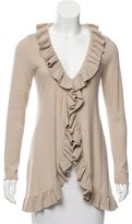 Magaschoni Ruffle-Trimmed Knit Cardigan