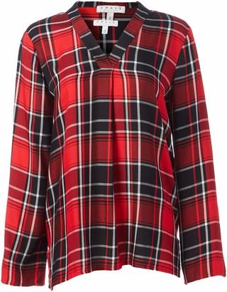 Chaus Women's Long Sleeve Split Neck Plaid Blouse