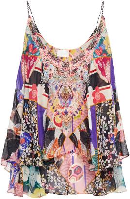 Camilla Layered Crystal-embellished Printed Silk-chiffon Camisole