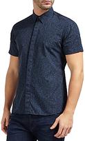 J. Lindeberg Daniel Short Sleeve Print Cotton Shirt, Navy