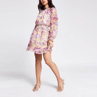 River Island Petite pink floral waisted frill mini dress