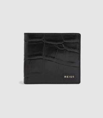 Reiss BENSON CROC EMBOSSED LEATHER WALLET Black