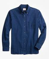 Brooks Brothers Indigo-Dyed Gingham Cotton Twill Sport Shirt