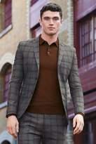 Mens Next Grey/Amber Super Skinny Fit Check Suit: Jacket - Grey