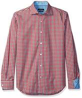 Bugatchi Men's Duncan Long Sleeve Mini Gingham Check Button Down Shirt