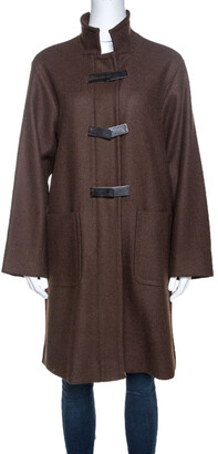 Loro Piana Brown Wool Front Button Detail Long Coat L