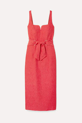 Rebecca Vallance Francesca Belted Textured-crepe Midi Dress - Coral