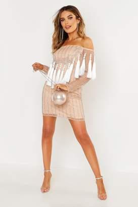 boohoo Premium Embellished Off The Shoulder Fringe Dress